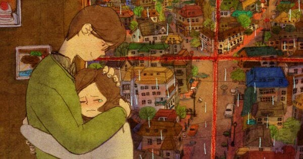 ragazza piange tra le braccia del fidanzato