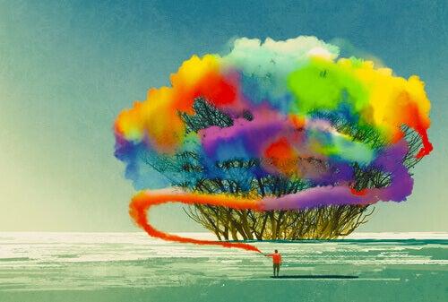 uomo e albero colori arcobaleno personalità