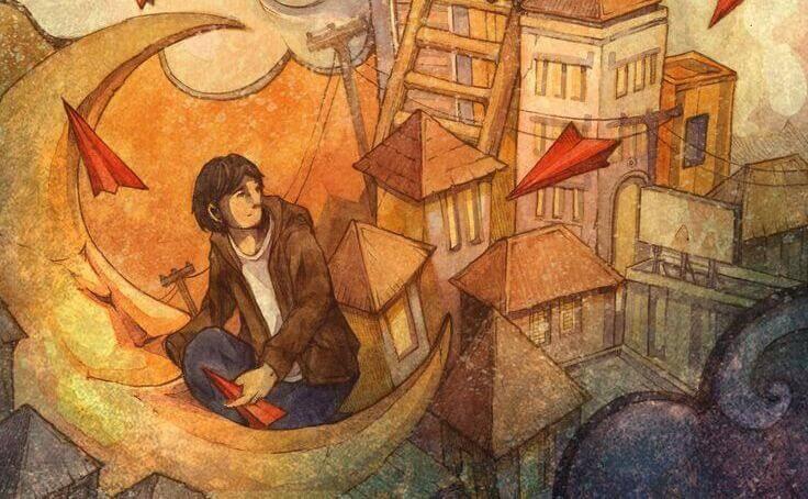 uomo seduto su una scala