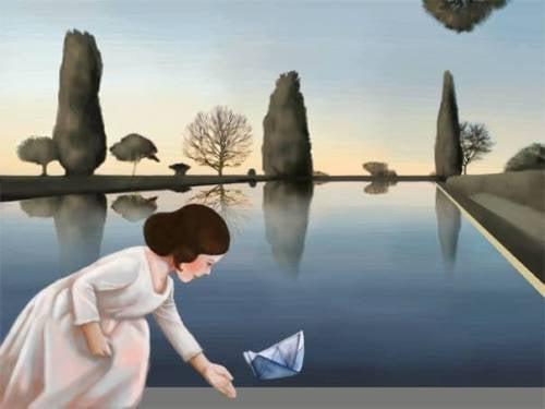 bambina sul lago