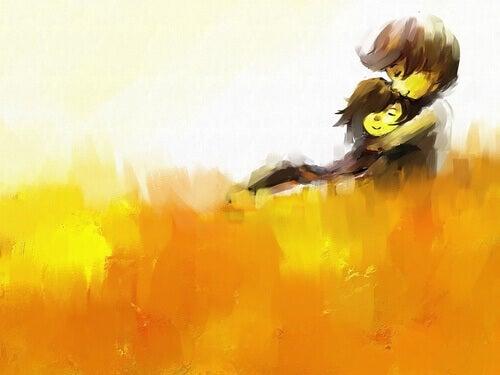 Coppia innamorata che si abbraccia
