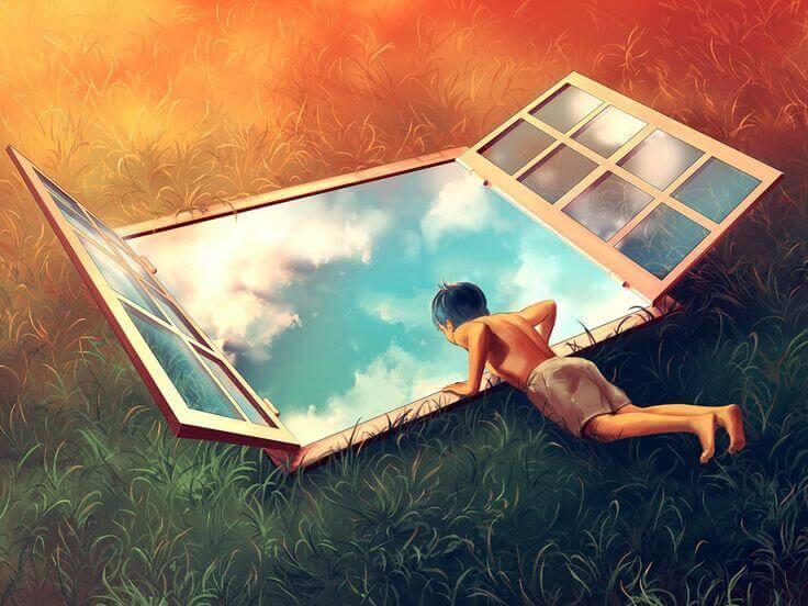 bambino osserva finestra sul cielo