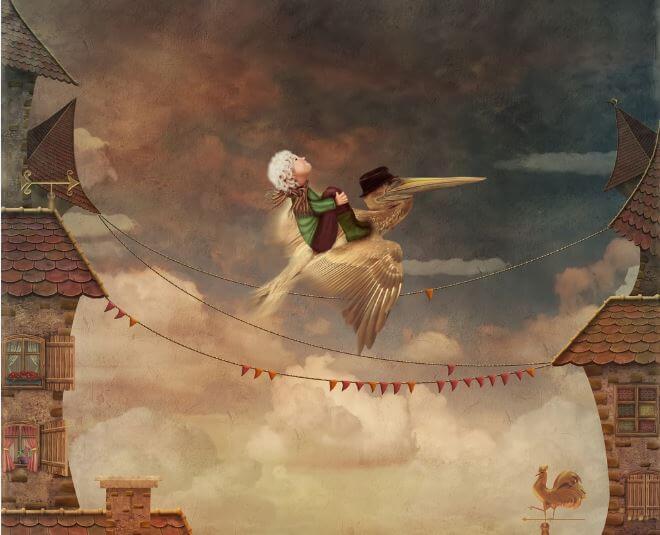 uomo vola su un airone