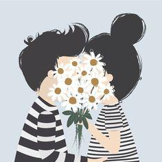 bacio e mazzo di margherite