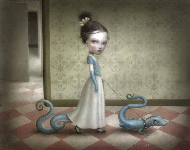 bambina con lucertole al guinzaglio