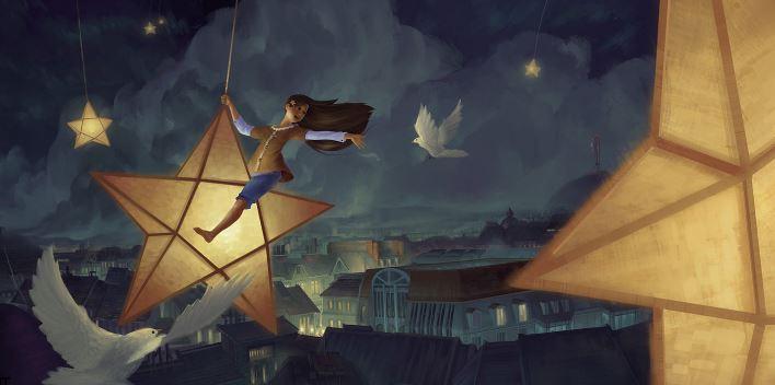 bambina vola su una stella con le colombe