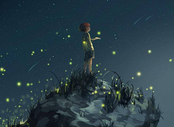 bambino felice guarda le lucciole