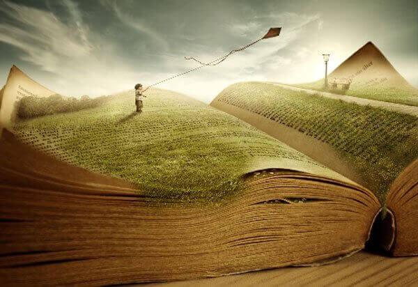 bambino sul libro e aquilone