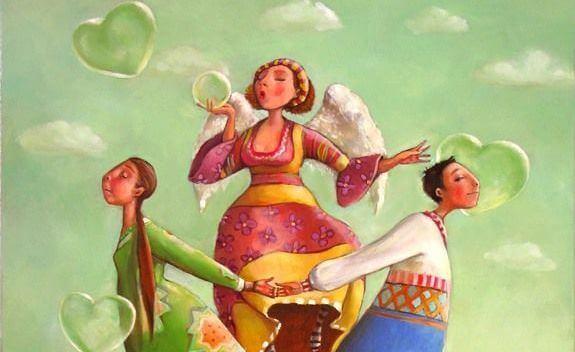 coppia, angelo e bolle di sapone