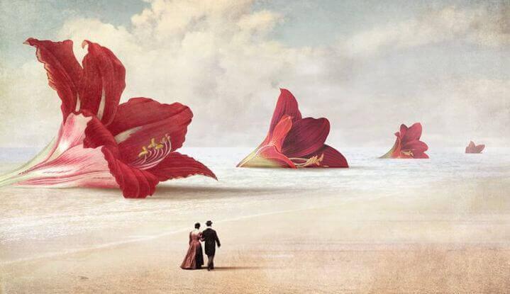 coppia cammina sulla spiaggia con gigli giganti