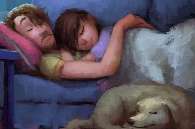 coppia che dorme abbracciata e cane vicino a loro
