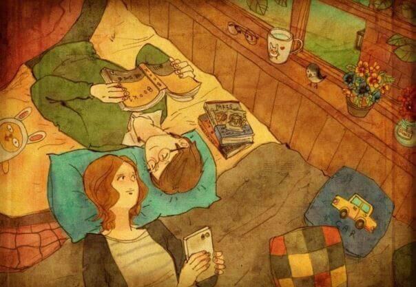 coppia che si guarda sul letto