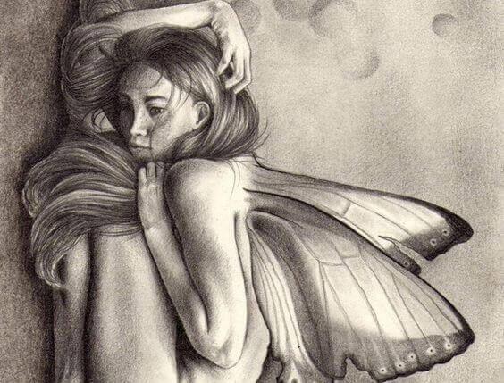 donna-accovacciata-con-farfalle
