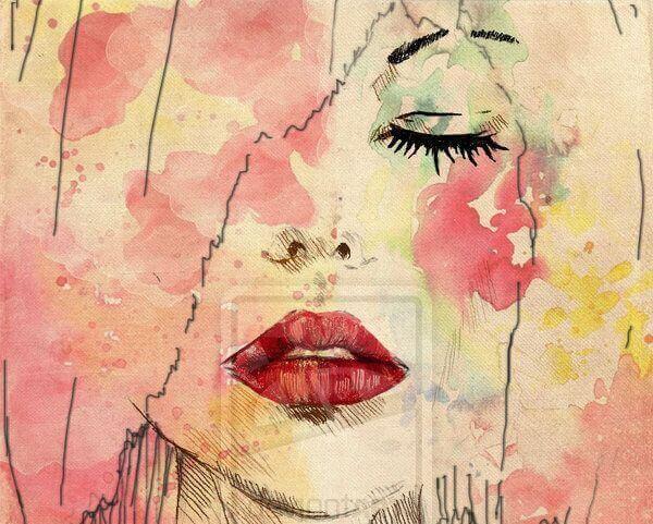 sensibilità faccia di donna colorata