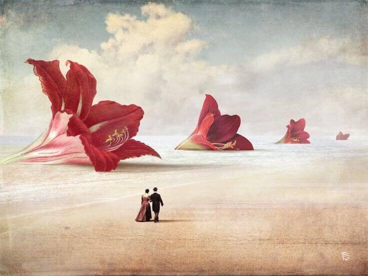 fiori, sabbia e coppia