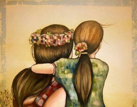 madre e figlia di spalle che si abbracciano