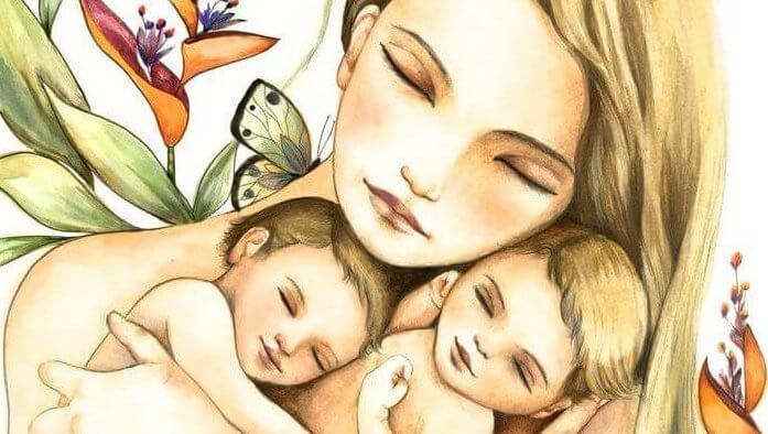 mamma che abbraccia due neonati