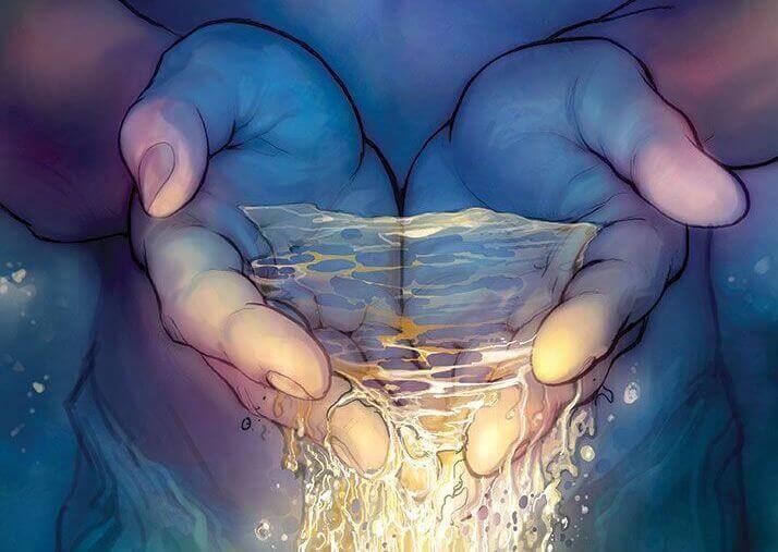 mani con acqua brillante