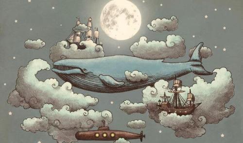 balena, luna, nuvole e navi