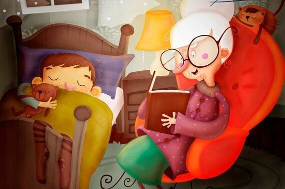 nonna legge una fiaba al nipote che dorme