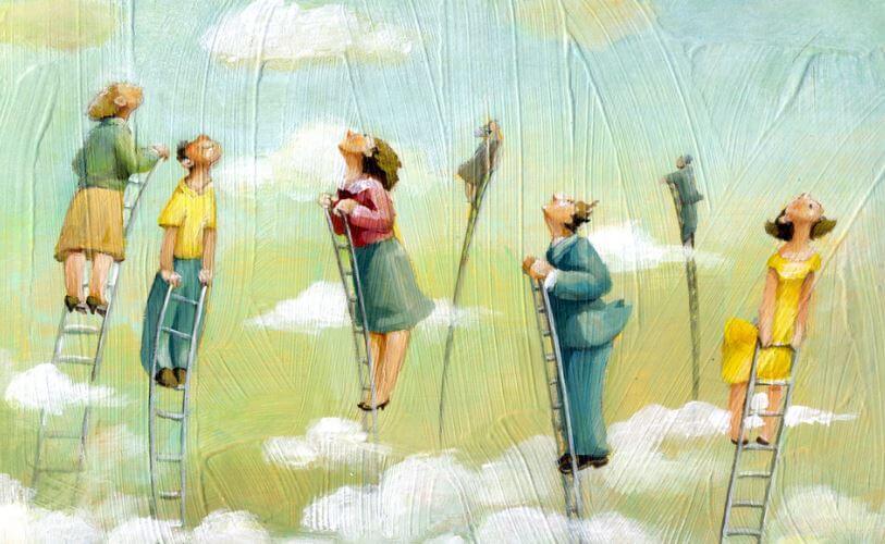 persone su scale verso il cielo