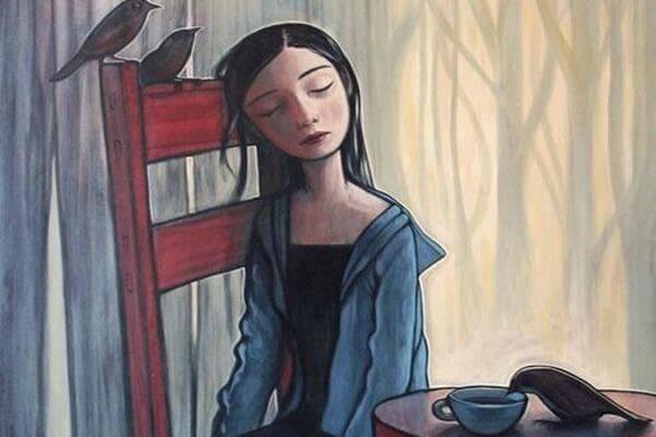 ragazza depressa e corvi