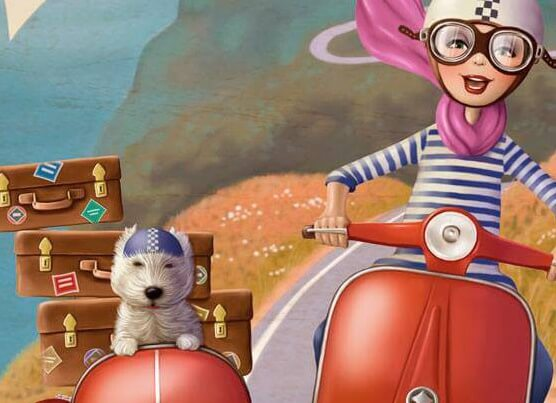 ragazza in moto con cane e valigie