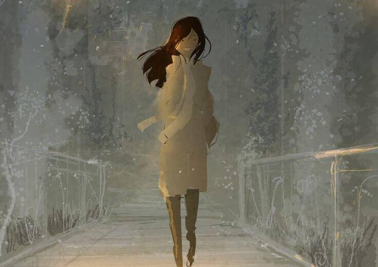 ragazza in un ponte in inverno