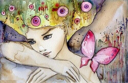 solitudine ragazza con farfalla