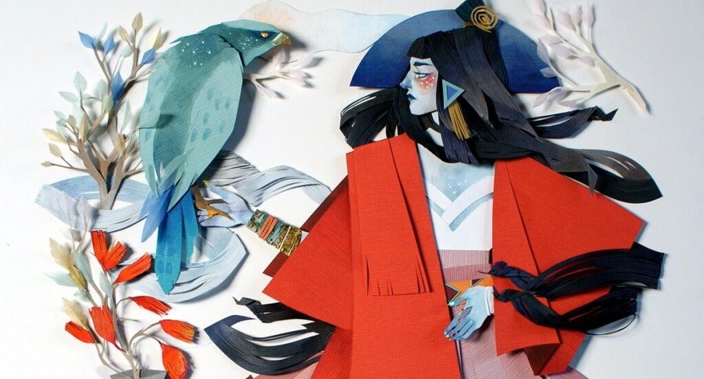 ragazza con kimono rosso e uccello