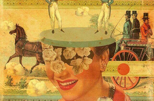 carrozza trainata da cavallo e mezzo volto di donna