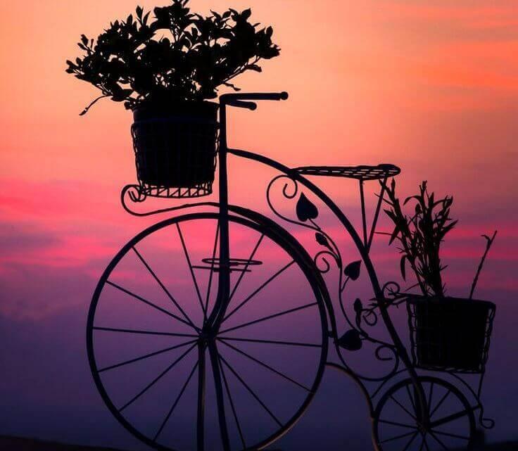 Fioriera a forma di bicicletta