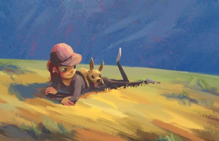 bambina con il suo cano su un prato