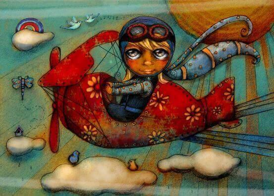 bambina-su-aereo-rosso il regalo migliore