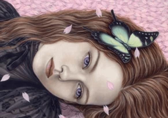 ragazza triste su petali di ciliegio