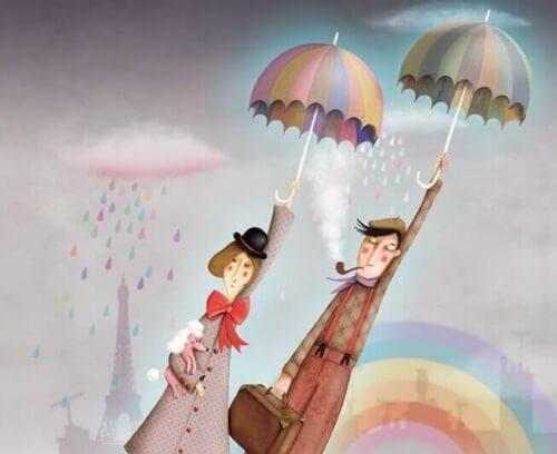 coppia che vola con ombrello