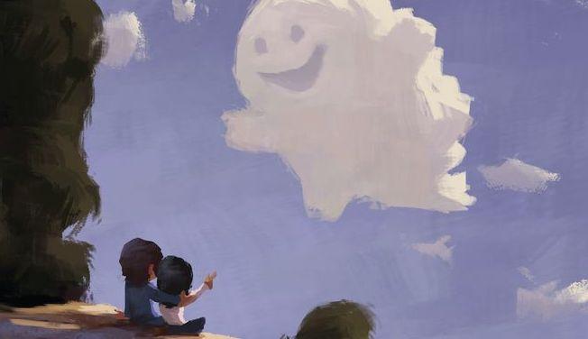 coppia si abbraccia e nuvola sorride