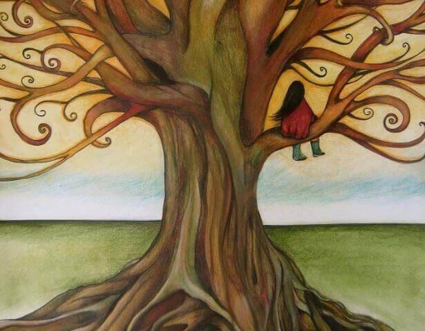 ragazza seduta su un albero
