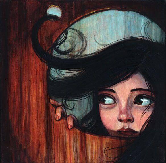 ragazza guarda fuori dalla porta