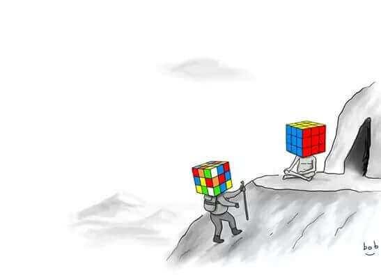 persone con testa a forma di cubo di rubik
