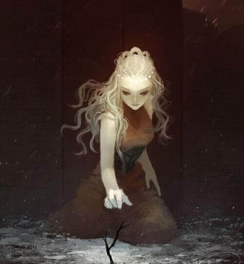 donna che estrae un ramo da un lago