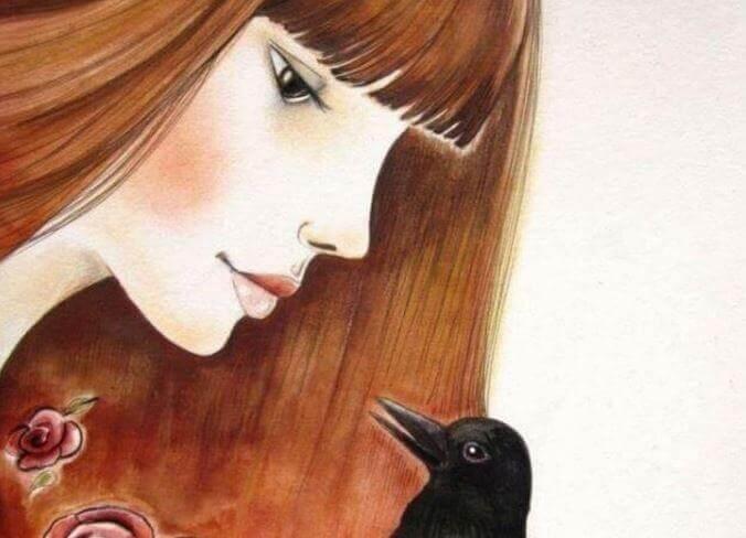 donna e corvo