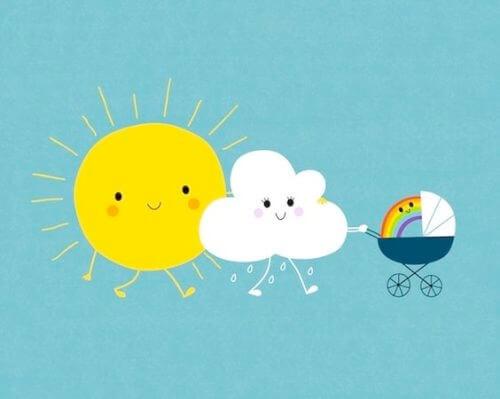sole e nuvola con passeggino e arcobaleno