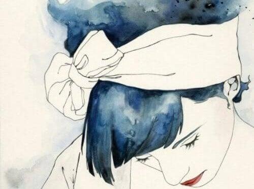 donna con fiocco in testa