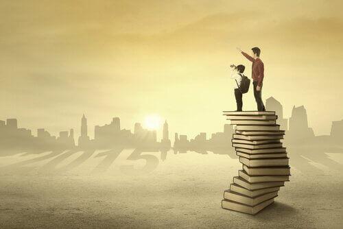 padre e figlio sui libri