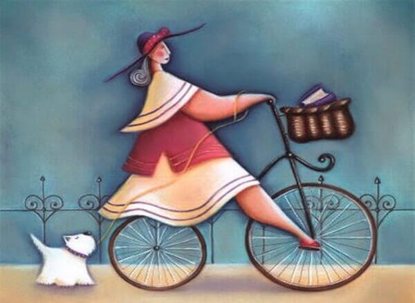 ragazza in bicicletta e cane bianco al guinzaglio