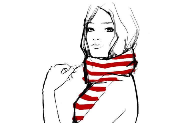 ragazza con sciarpa a righe bianche e rosse