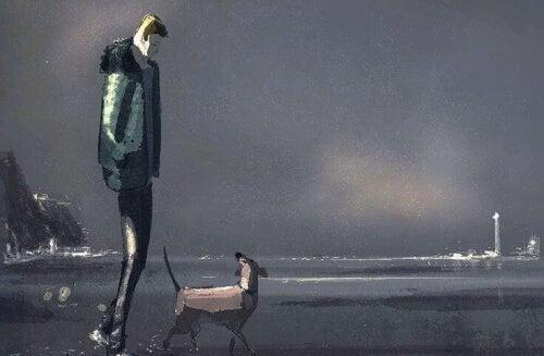 uomo triste passeggia con cane