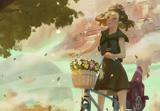 ragazza in bicicletta con fiori nel cestino