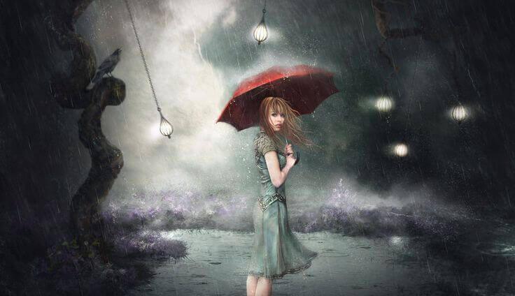 ragazza sotto l'ombrello